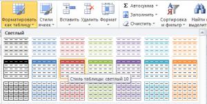 Выбор стиля таблицы Excel