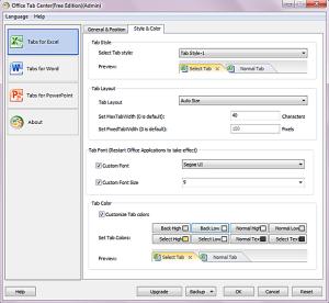 Дополнительные параметры Office Tab