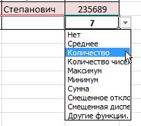 Итоговые функции Excel