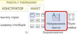 Направление текста в ячейке таблицы  Word