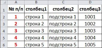 Автоматическая нумерация строк Excel с помощью функции